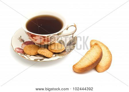 Cup Of Tea, Cookies And Crackers