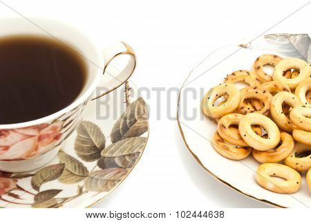 Cup Of Tea And Tasty Bagels