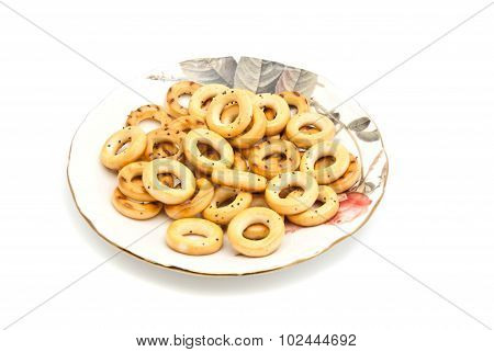 Bagels On A Dish On White