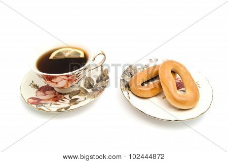 Two Bagels And Tea With Lemon