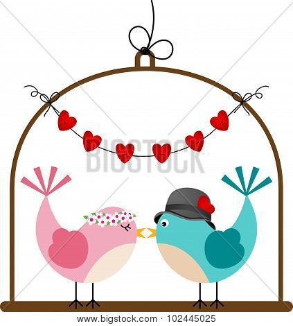Adorable couple wedding birds in a cage