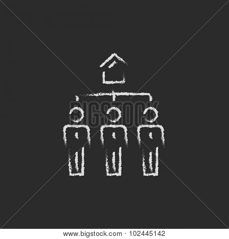 Three real estate agents hand drawn in chalk on a blackboard vector white icon isolated on a black background.
