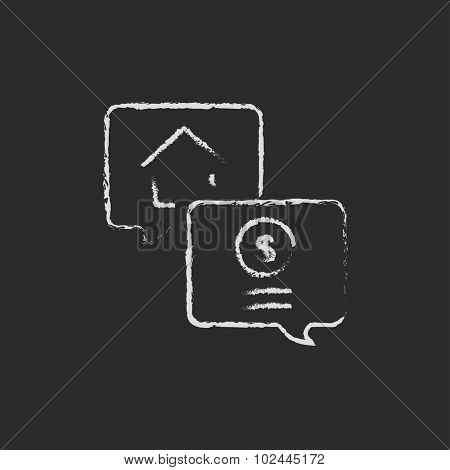 Real estate transaction hand drawn in chalk on a blackboard vector white icon isolated on a black background.