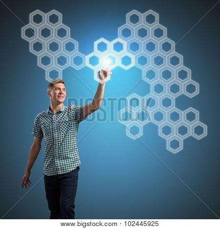 Man touching screen