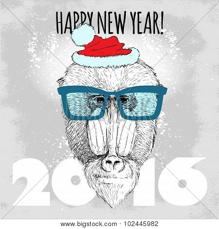 Mandrill monkey Hipster with blue glasses and Christmas hat.