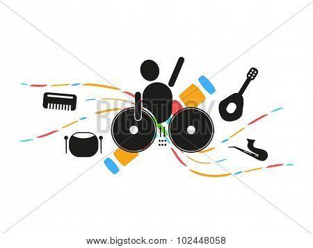 Disc Jockey Mixing Music Party