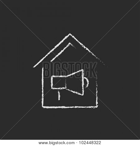 House fire alarm hand drawn in chalk on a blackboard vector white icon isolated on a black background.