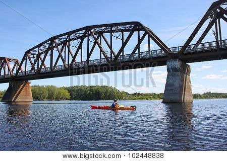 Kayaking On The River In Fredericton