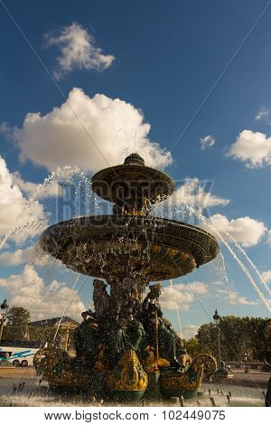 The Fountain On The Concorde Square, Paris, France.