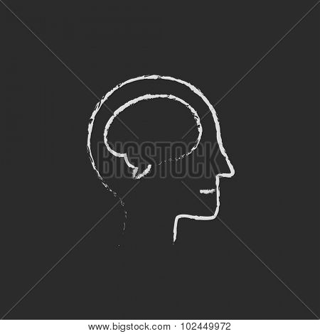 Human head with brain hand drawn in chalk on a blackboard vector white icon isolated on a black background.