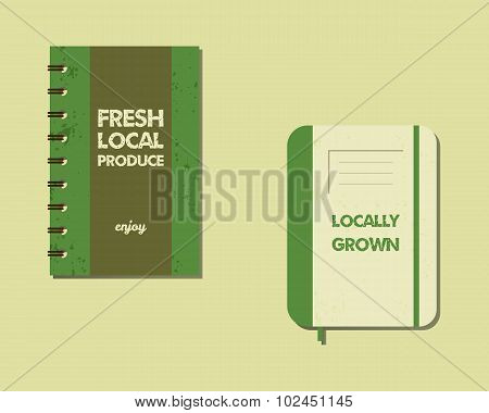 Stylish Farm Fresh brand book, notebook templates with ecology logo. Organic, eco, bio. Mock up desi