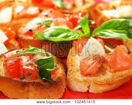Bruschettas With Salmon And Onion