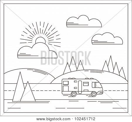 Vector travel illustration in linear style