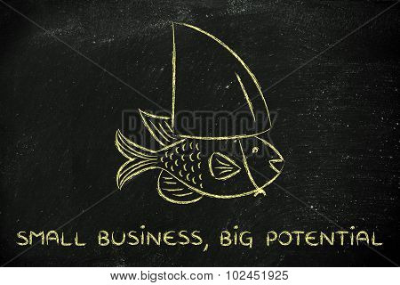 Small Fish Wearing A Fake Shark Fin, Concept Of Having Big Potential