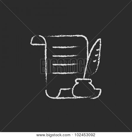 Paper scroll with feather pen hand drawn in chalk on a blackboard vector white icon isolated on a black background.