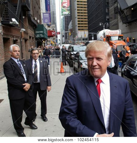 NEW YORK CITY - TUESDAY, SEPTEMBER 22, 2015: Republican presidential candidate Donald Trump arrives for a taping of CBS television's The Late Night with Steven Colbert.