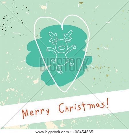 Christmas reindeer with hearth, merry christmas greeting card. Doodle style vector illustration.