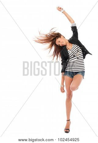 Happy Young Beautiful Full Body Brunette Woman Dancing