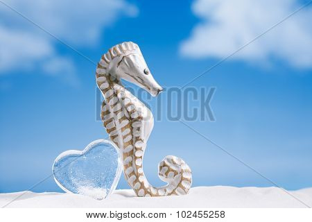 seahorse with glass heart on white sand beach, ocean,   sky and seascape, shallow dof