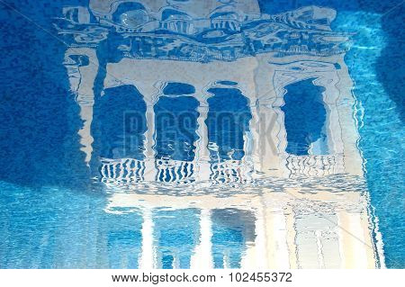Concept For Travel Agencies. Illustration Fairy Palace Reflected In The Water. Eastern Mirage Palace