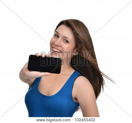 Young Woman Show Display Of Mobile Cell Phone With Blank Black Screen