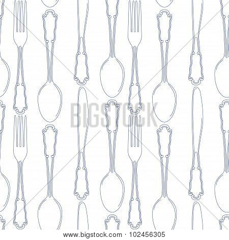 Hand Drawn Silverware Icons Seamless Pattern Background. Vector File Layered For Easy Manipulation A