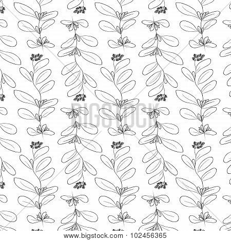 Hand Drawn Delicate Decorative Vintage Leaves In Black And White. Elegant Seamless Pattern. Vector I