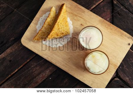Boiled Eggs,soft-boiled Egg  And Bread Yuan