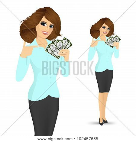 bank representative holding a fan of money