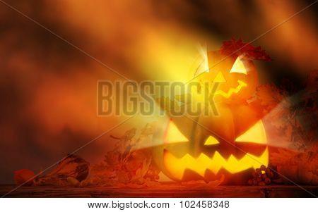 Scary halloween pumpkin background