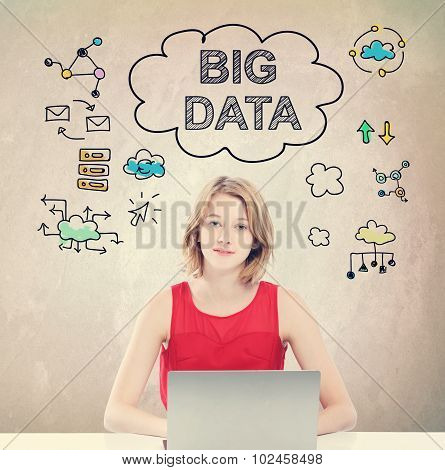 Big Data Concept With Young Woman Working On Laptop