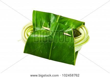 Galangal wrapped in fresh banana leave on white background.