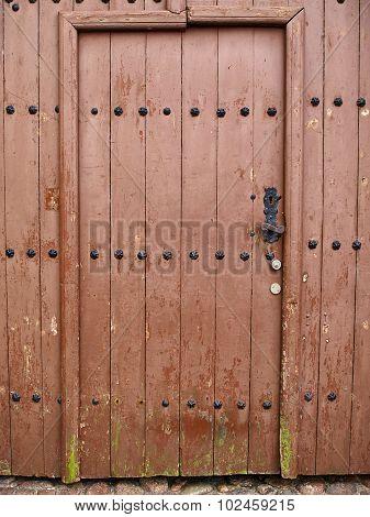 Old Vintage Wooden Brown House Door
