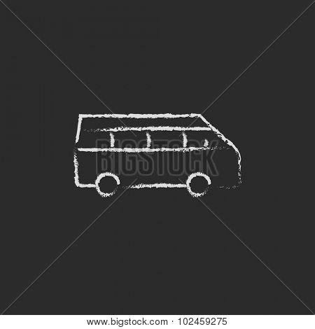 Minibus hand drawn in chalk on a blackboard vector white icon isolated on a black background.