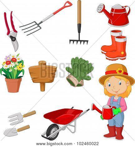 Cartoon women holding watering gardening tool