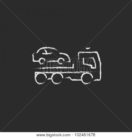 Car towing truck hand drawn in chalk on a blackboard vector white icon isolated on a black background.