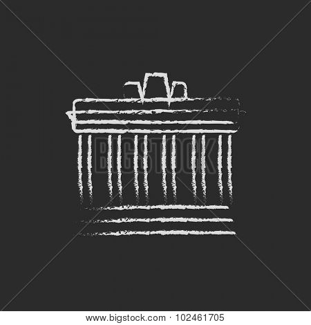 Acropolis of Athens hand drawn in chalk on a blackboard vector white icon isolated on a black background.