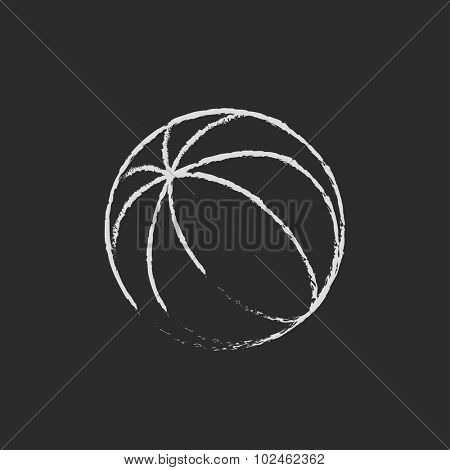 Beach ball hand drawn in chalk on a blackboard vector white icon isolated on a black background.