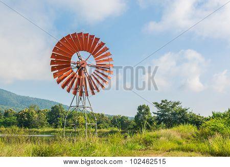 Red Wind Turbine Generator