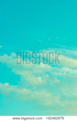 Vintage Style Image Of Clear Sky On Day Time For Background Usage .