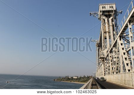 Drawbridge across Dniester estuary