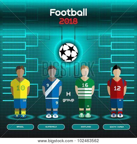 World Cup Team Scoreboard. Brazil, Guatemala, Scotland, South Korea.