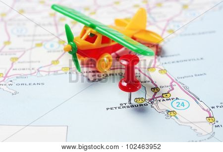 St. Petersburg  Usa Florida  Map Airplane