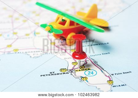 Tampa Florida  Usa Map Airplane
