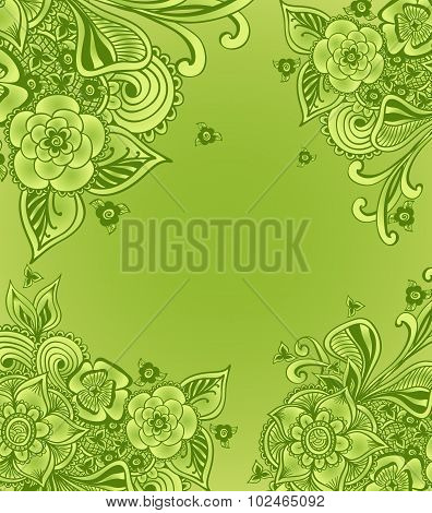 Frame or background  with doodle flowers or floral elements in green for package advertising tea cos