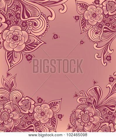 Frame or background  with doodle flowers  in pink