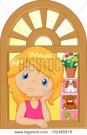 Cartoon little girl cry and watching out the window