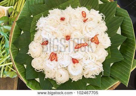 Thai Rice Vermicelli On A Green Banana Leaf