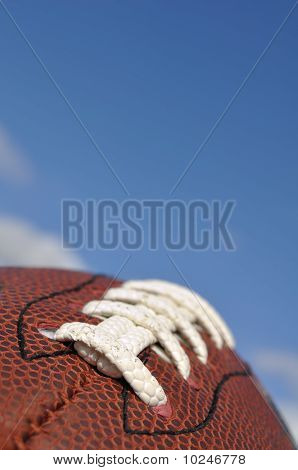 Close-up Of American Football Texture And Laces