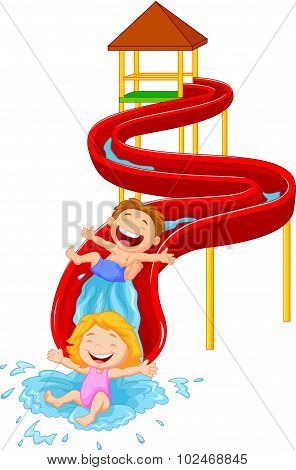 Happy children on water sliding